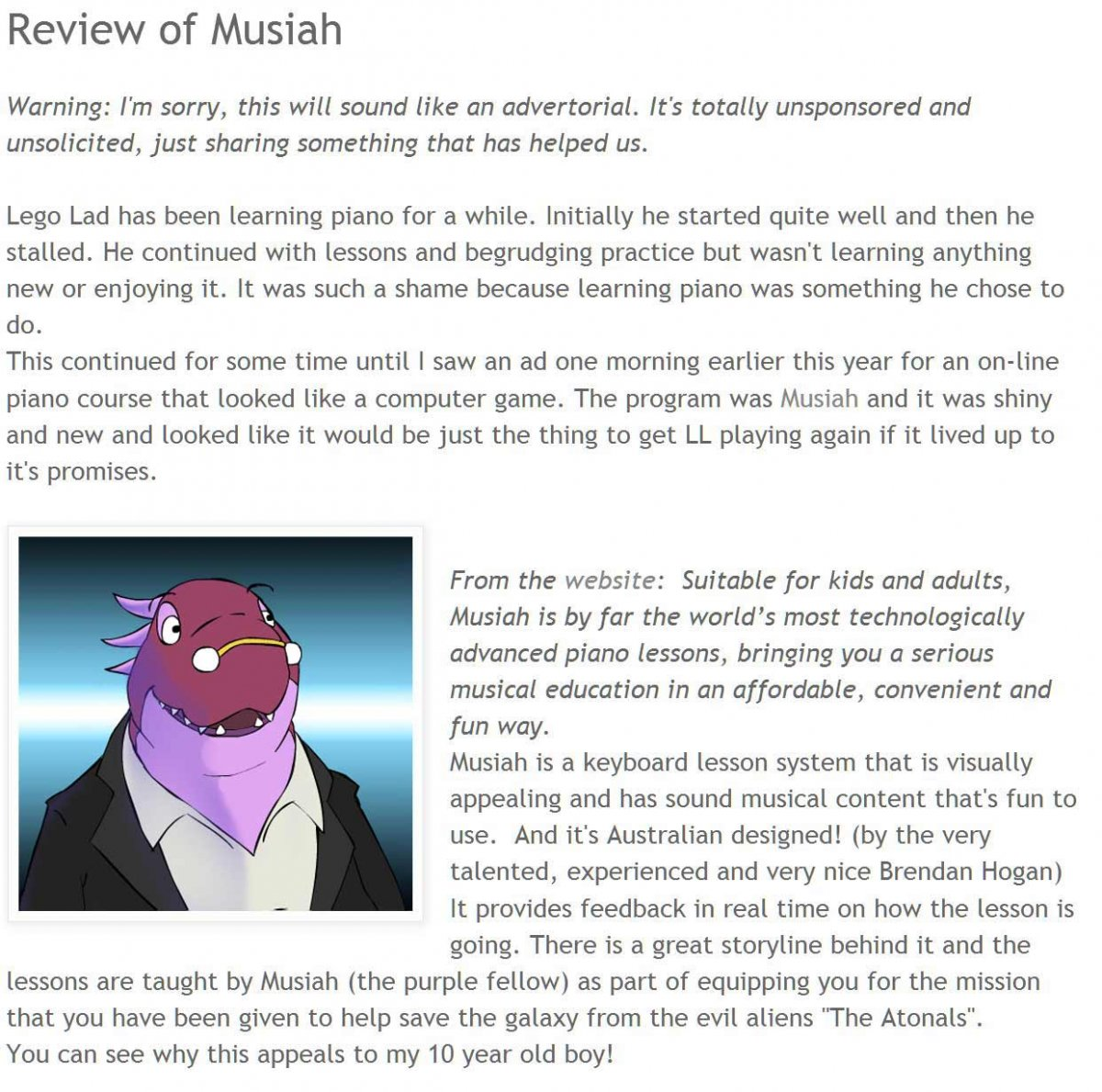External blog reviews Musiah piano lessons