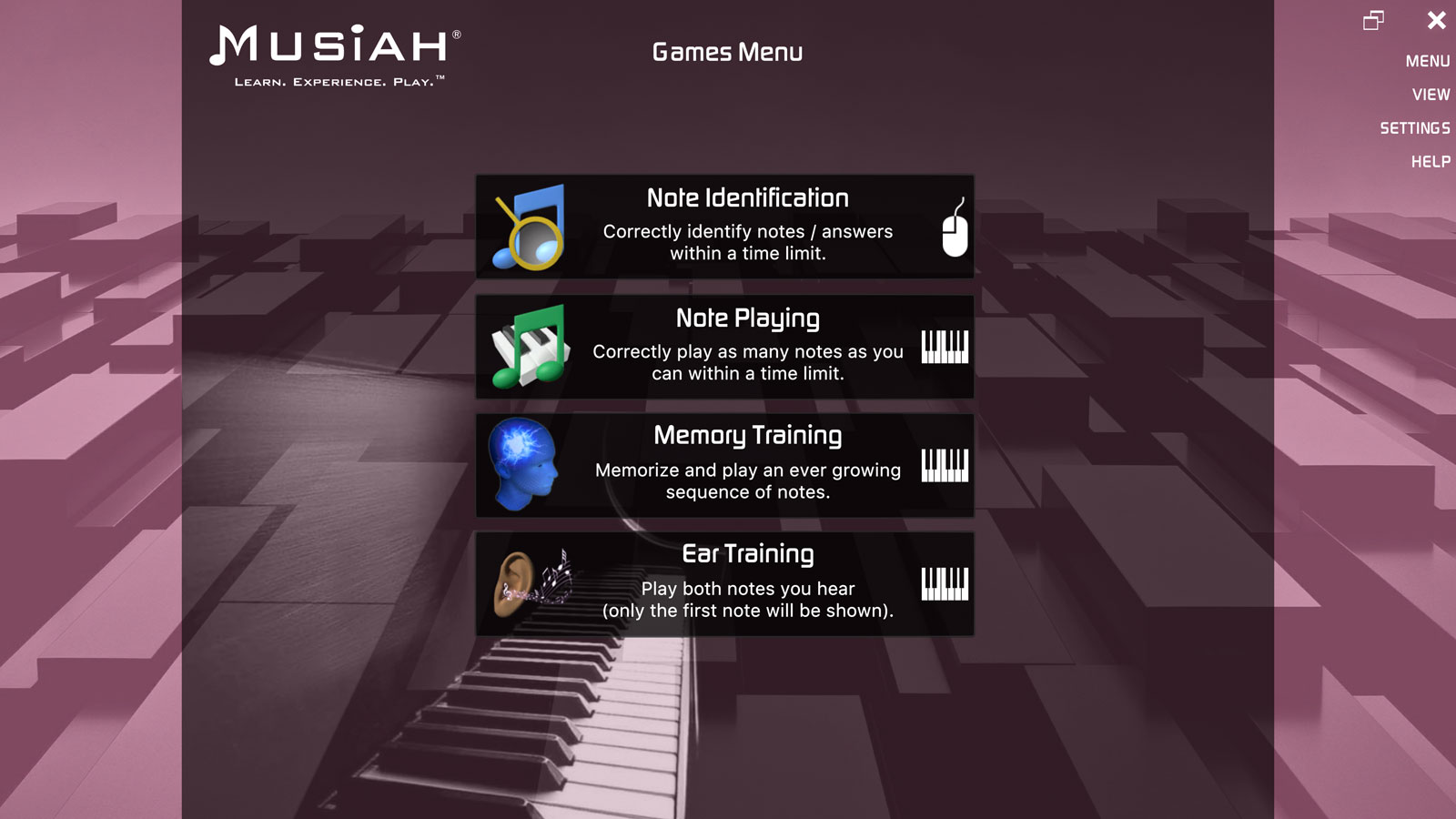 Musiah piano lessons games area