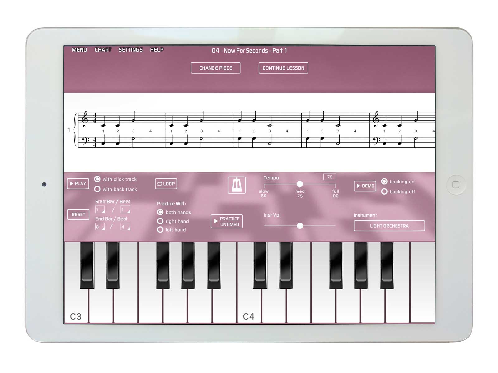iPad piano lessons with Musiah