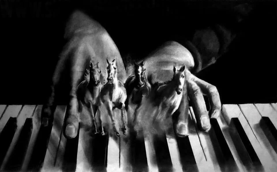 hands on piano with fingers changing into horses