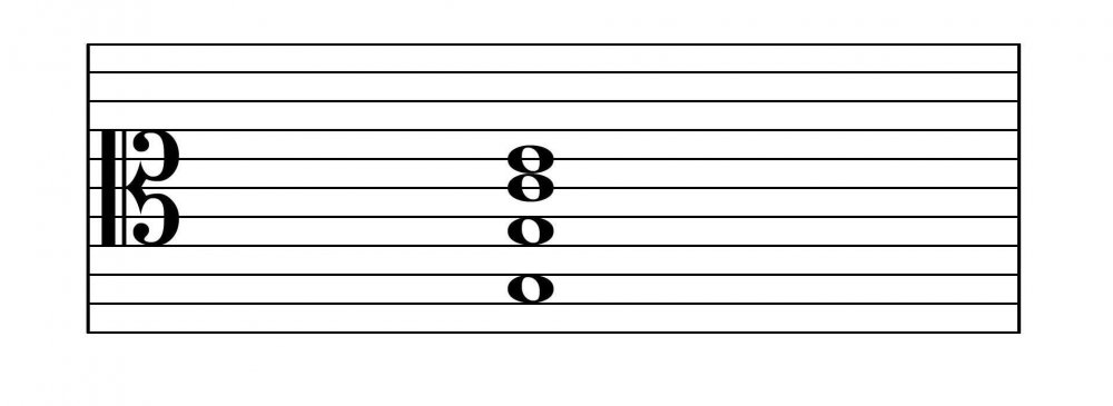 how a chord looks on a single 11 line stave