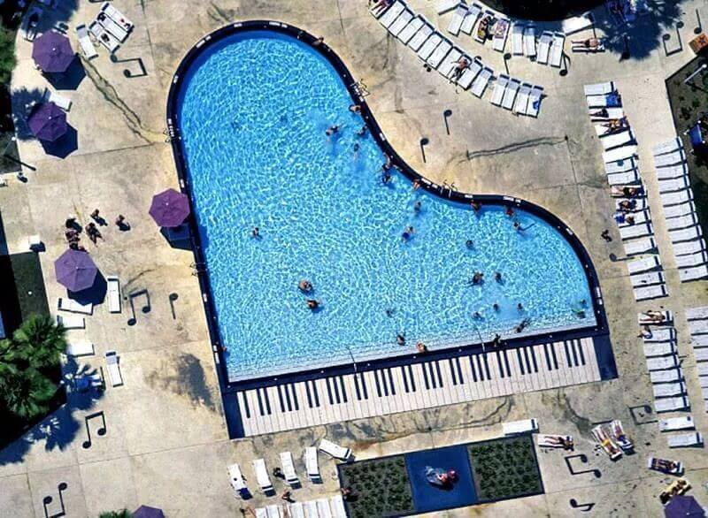 piano pool with black & white piano keys, music notes, quarters notes, eighth notes
