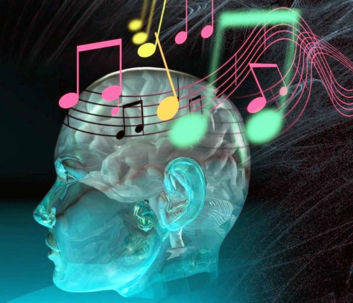 brain surrounded by music staffs and music notes