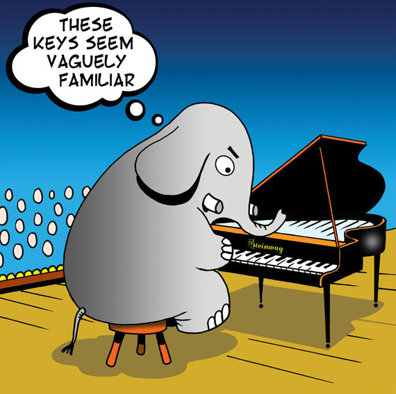 elephant seated at piano struggling to remember the notes of a piano song