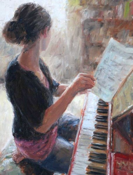 painting of girl at piano turning sheet music page