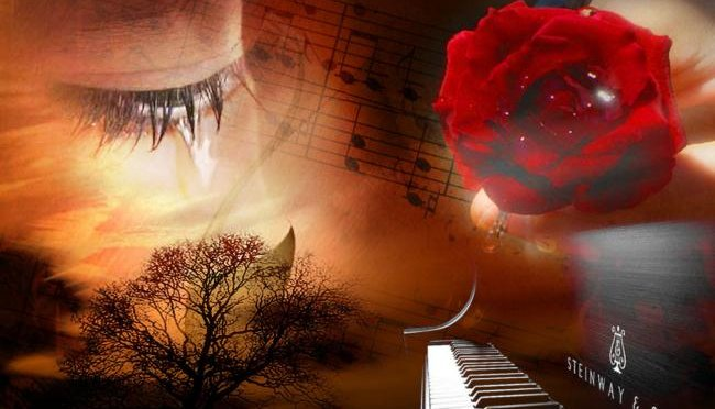 abstract image of an eye with sheet music, a piano and a rose