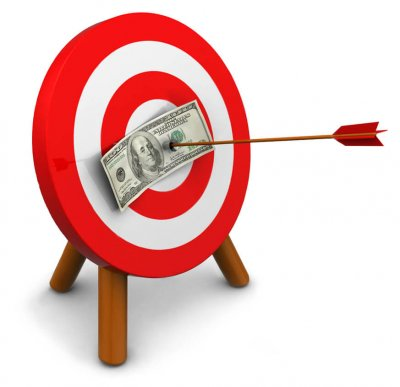 arrow pinning dollar to target