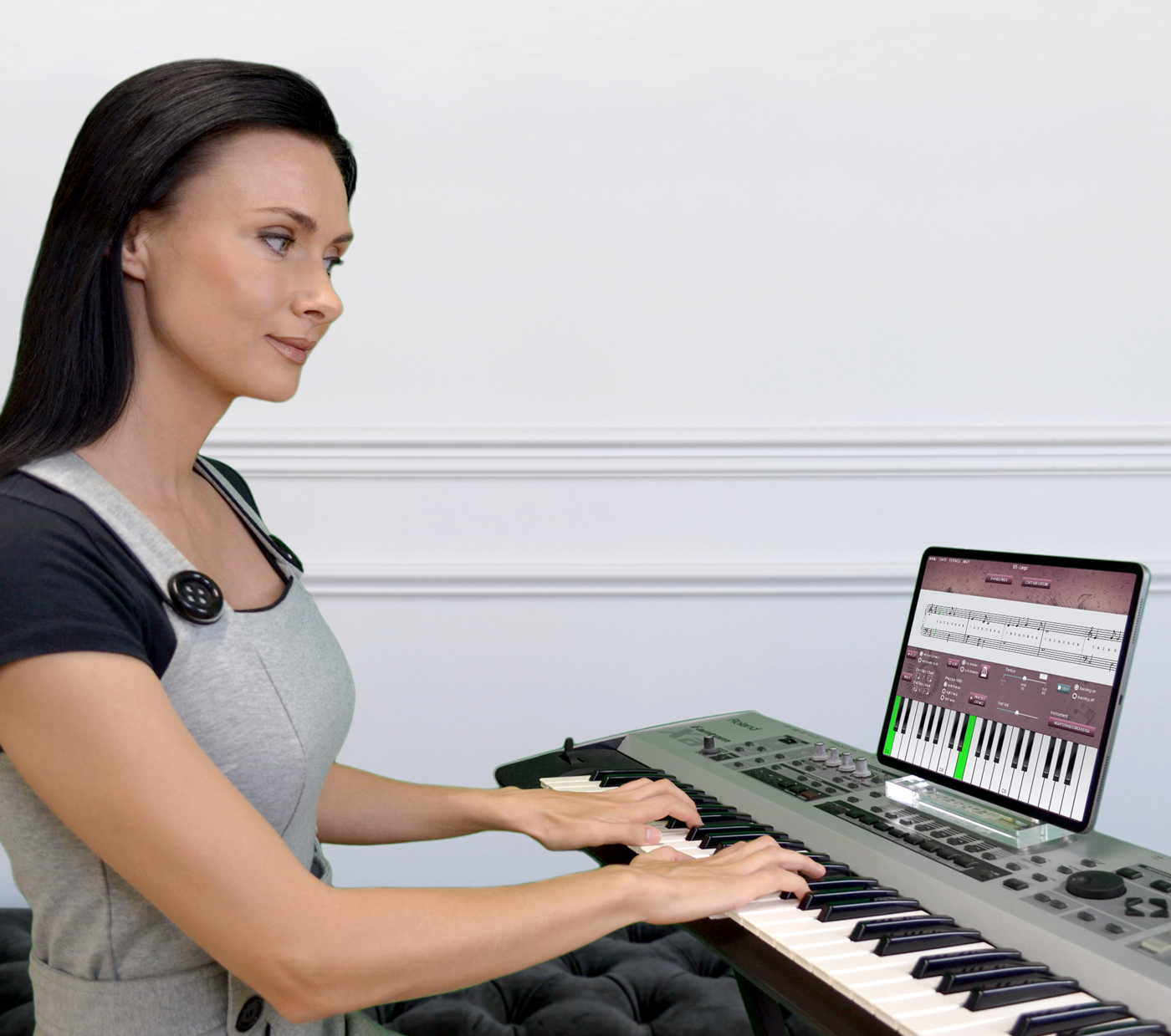 A.I. piano lessons for iPad in action