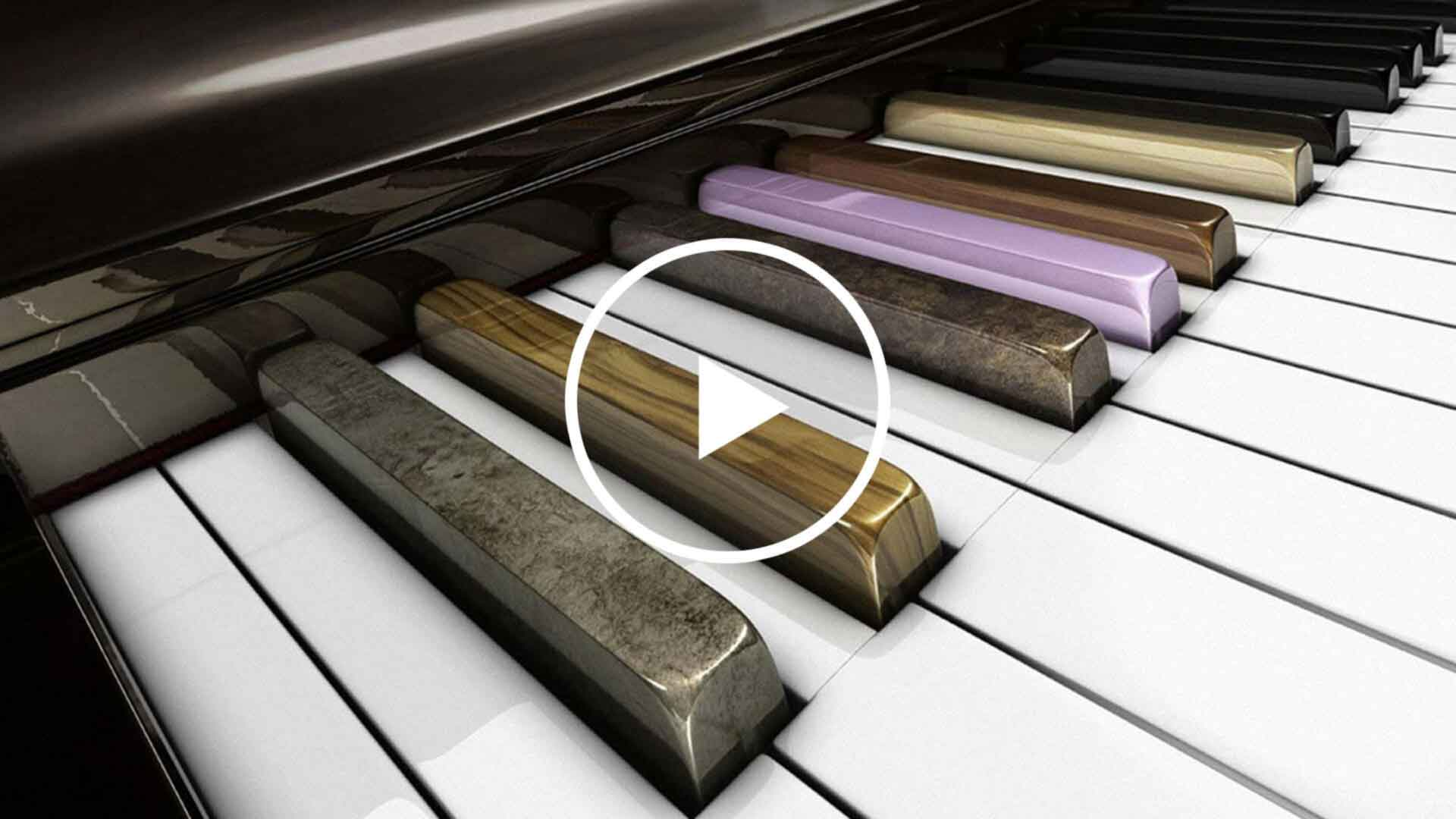 colorful piano keyboard with play icon