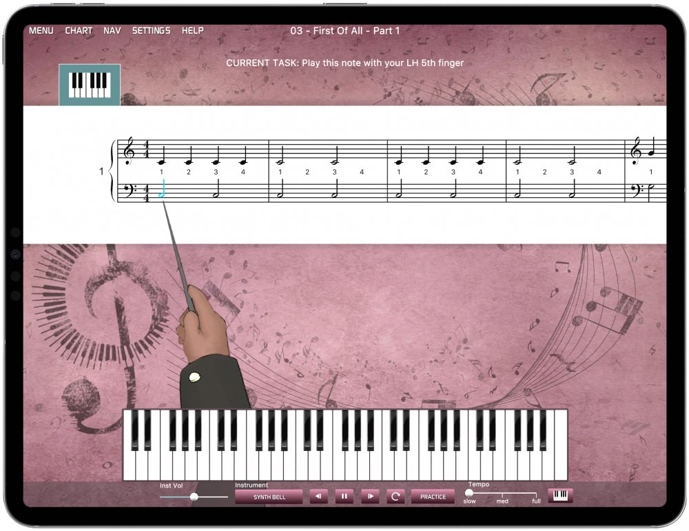 ipad with piano lessons for beginners