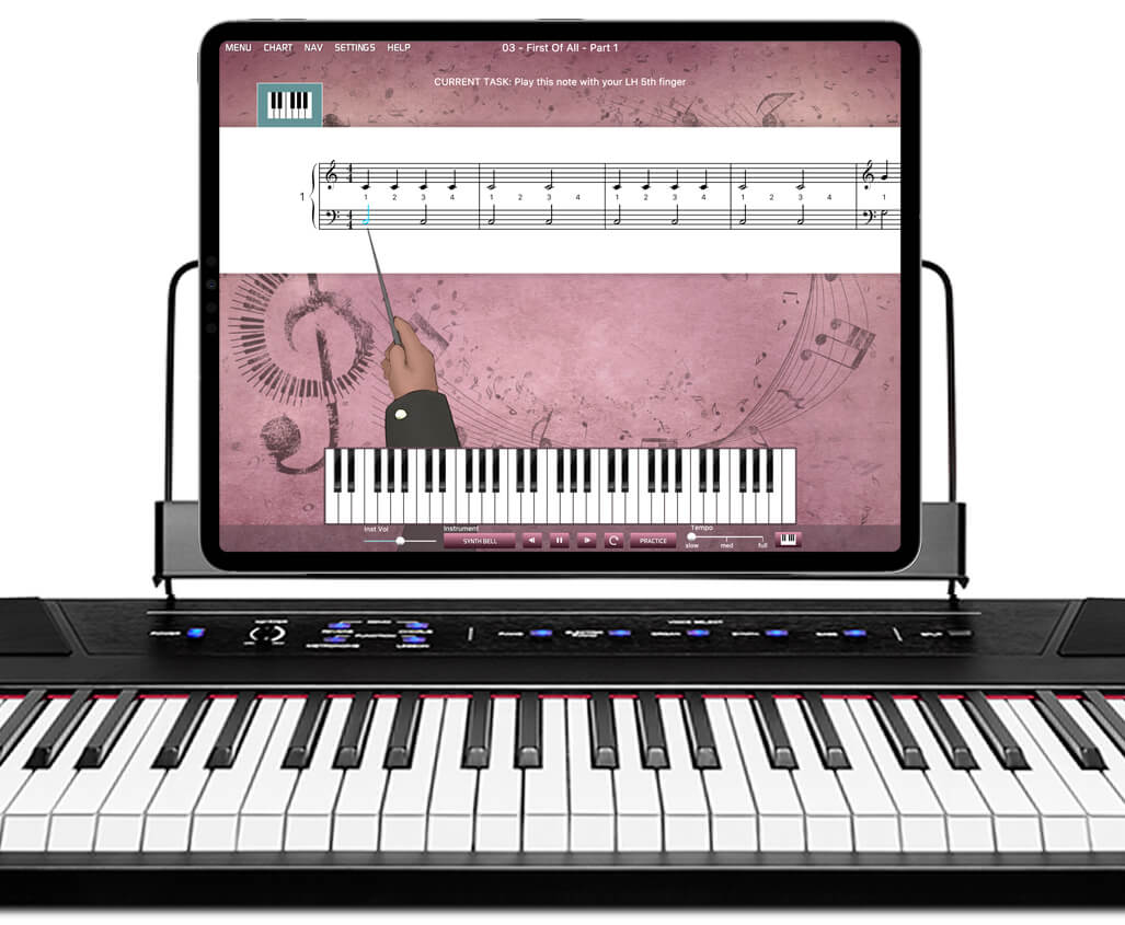 keyboard lessons app on iPad resting on MIDI keyboard