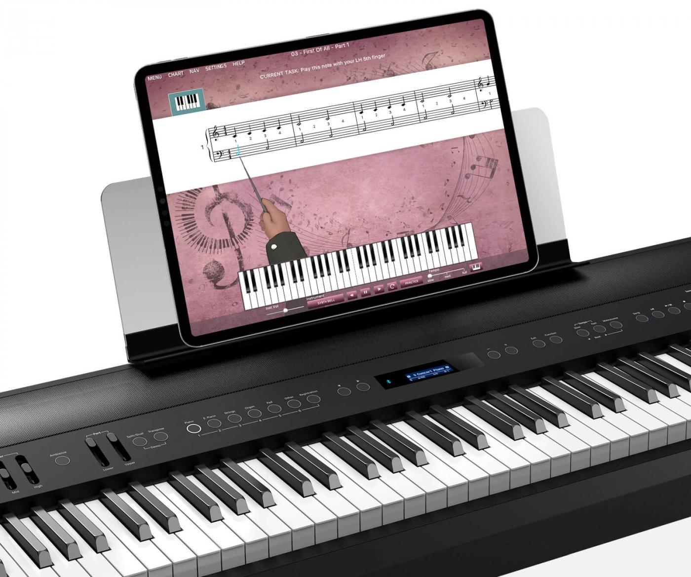 adults piano lessons app on ipad with MIDI piano keyboard