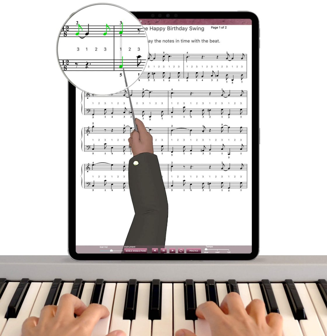 free piano lessons app on iPad with hands on piano keyboard