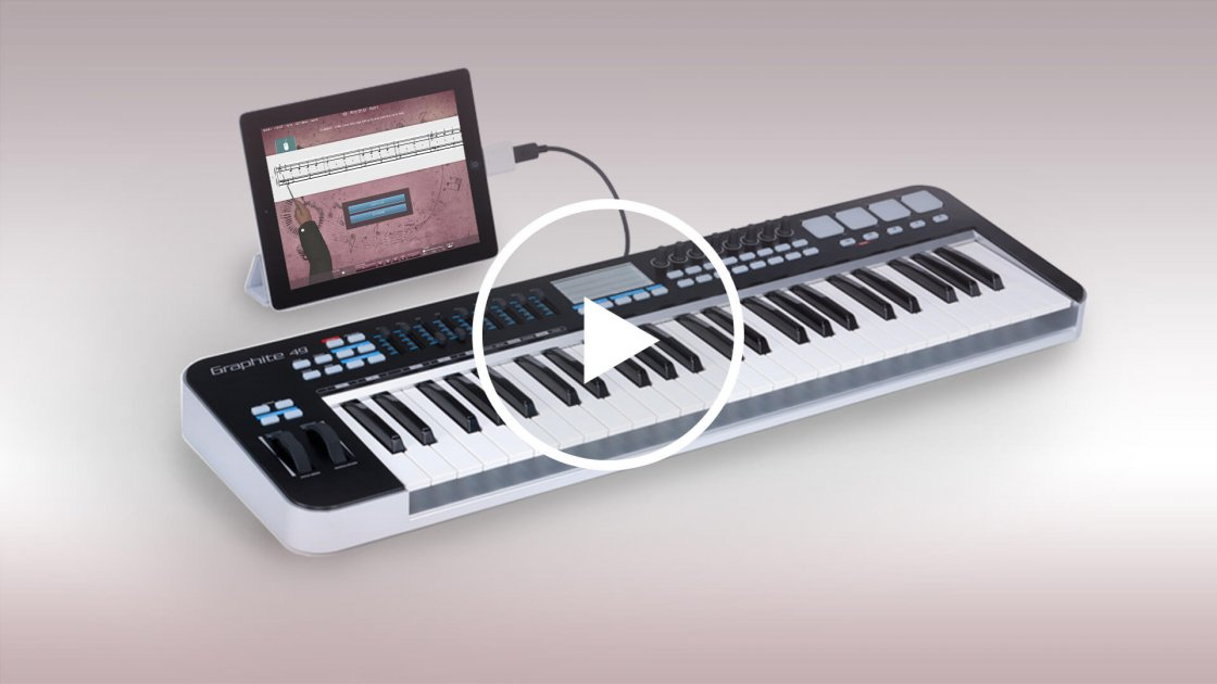 MIDI keyboard connected to iPad with cable