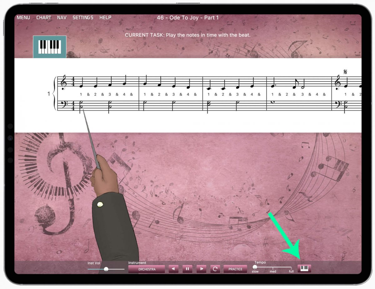iPad with Musiah app showing the online piano keyboard icon