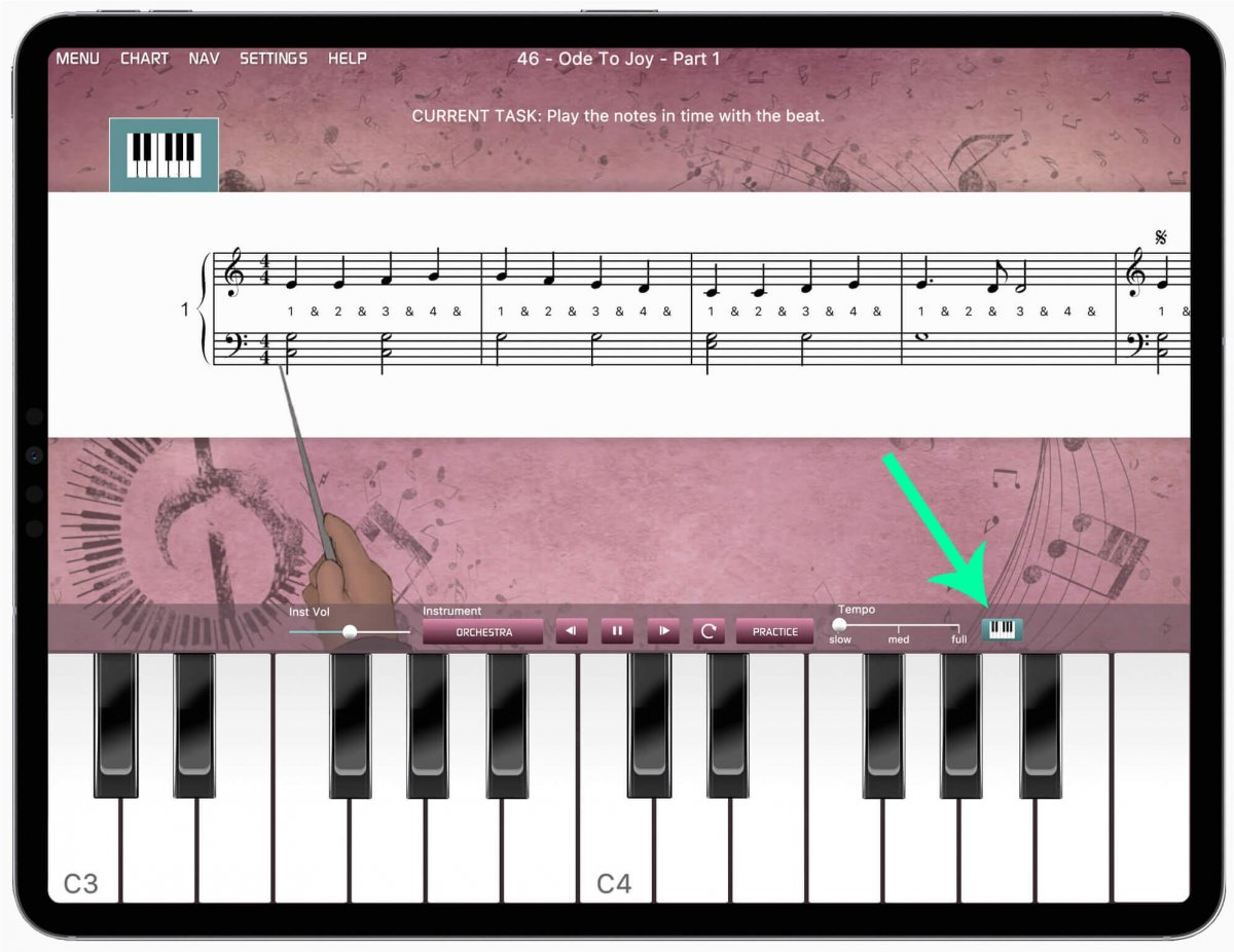 iPad with Musiah app showing the online piano keyboard and icon