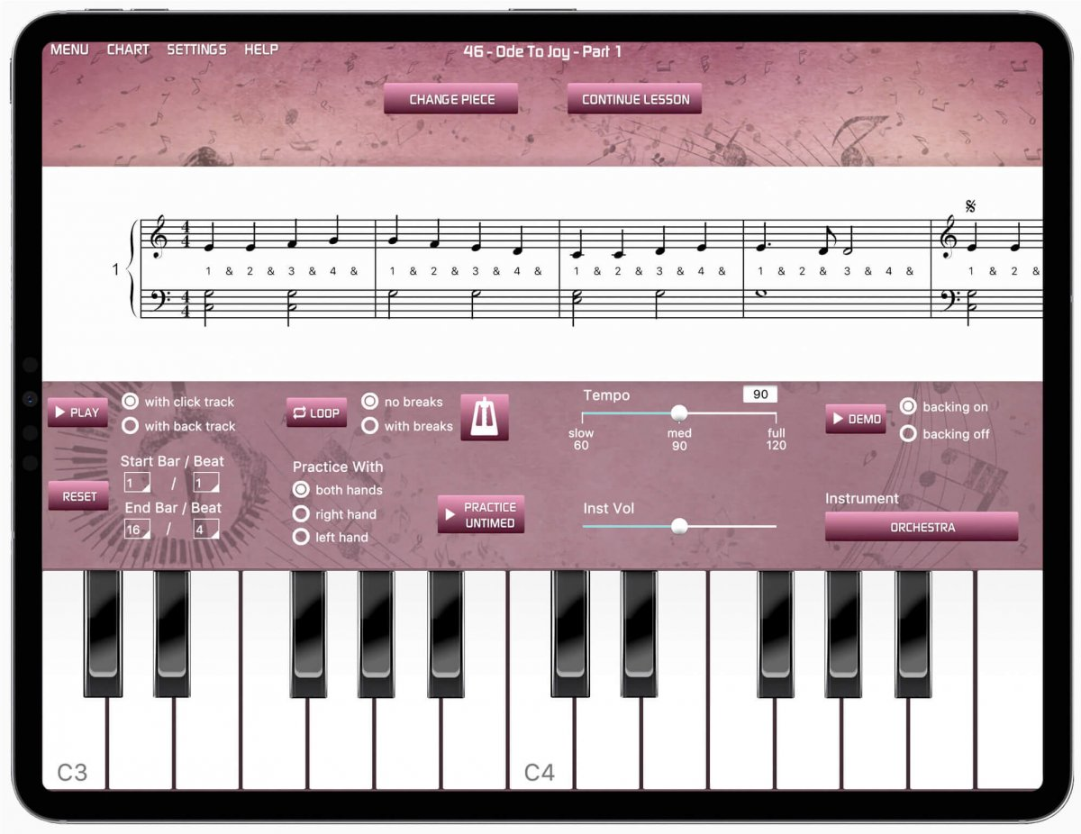 iPad with Musiah app showing the online piano keyboard in the app