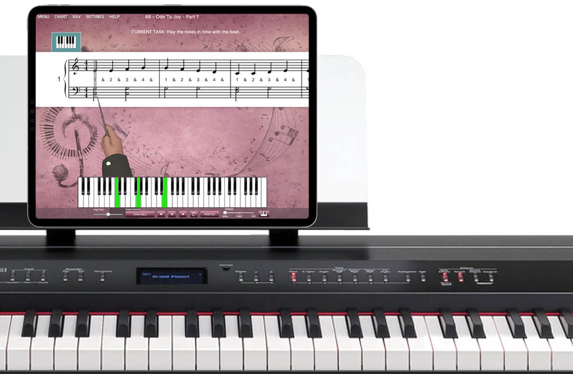 digital piano with iPad running Musiah piano lessons app