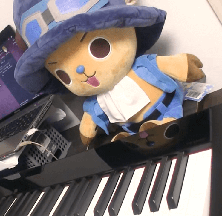 cuddly toy at piano