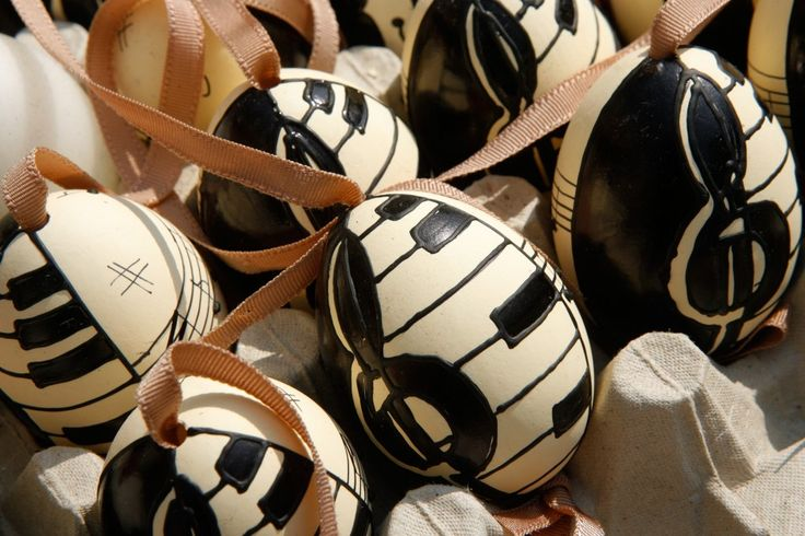 Easter eggs painted with piano keys and treble clef